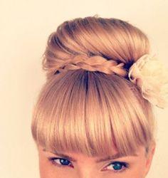 Gorgeous bun updo with wrapped around braid