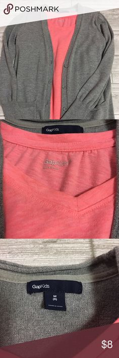 Gap - girls bundle Size 8(medium) girls hot pink t-shirt and grey button up cardigan. Both are in excellent condition! Selling together. GAP Shirts & Tops