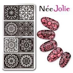 €2.69 Née Jolie Nail Art Plaque de Stamping Rectangulaire Fleurs Lace NJX-010 12*6cm - NeeJolie.fr