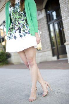 Green Floral Dress, Cardigan, Strappy Sandal