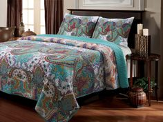 NIRVANA 3pc FULL / QUEEN QUILT SET - TEAL PAISLEY MOROCCAN BOHO EXOTIC BEDDING