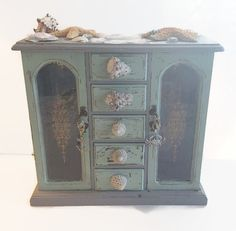 Medium Distressed Light Blue And Black Jewelry Armoire Vintage