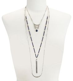 Lucky Brand Layers Lapis Blue Multi Row Tassel Necklace. Free shipping and…