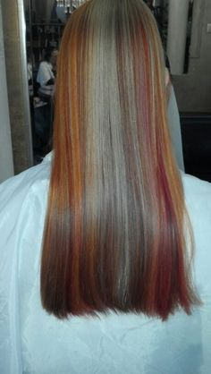 Copper, brown and blonde highlights, by Justine Taitz Blonde Highlights, My Hair, Copper, Long Hair Styles, Brown, Beauty, Blonde Chunks, Blond Highlights, Long Hairstyle