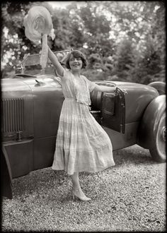 Hats Off: 1920 via Shorpy high-def historic photos website --- the hat, the car, the dress