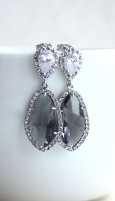 cool Large Teardrop LUX Rhodium Plated Cubic Zirconia, Grey Glass…