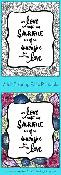 Printable coloring page with inspirational quote. Capturing-Joy.com