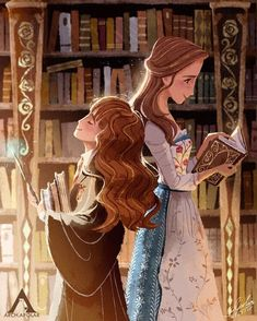 """48.4k Likes, 264 Comments - Harry Potter (@harrypottercast) on Instagram: """"Just imagine Hermione and Belle talking about books all day ❤️ This amazing art was made by…"""""""