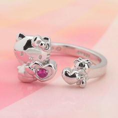 Hello Kitty Jewelry, Hello Kitty Accessories, Pink Accessories, Hello Kitty Images, Hello Kitty Items, Heart Jewelry, Cute Jewelry, Hello Kitty Wedding, Silver Ruby Ring