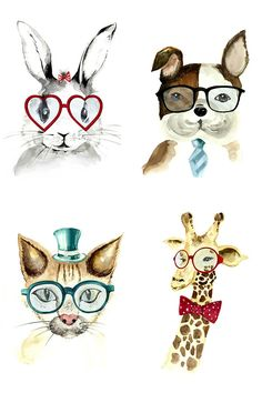 Bright and youthful pictures for children - or animal lovers! Choose a bunny, dog, cat or giraffe in spectacles. Hang the artwork in kids' bedrooms, playrooms, or any other quirky space to add color and character.