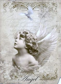 Vintage angel Digital collage p1022 Free to use <3:
