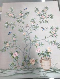 "Chinoiserie Handpainted Artwork on Silver Grey Slub Silk: Panel Size 36"" by 45"""