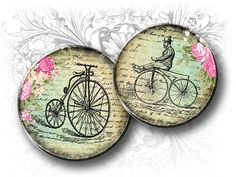 Old Bicycles 2 Inch Round Images Digital Collage Sheet by Eolene