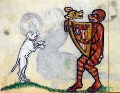A new harp student, perhaps:-)  http://discardingimages.tumblr.com/post/84650712753/lion-musician-summer-volume-of-the-breviary-of