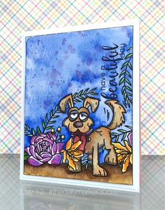 Love combining stamp companies. This is with the Tim Holtz crazy dogs again and Altenew's flower stamp set.