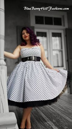 BlueBerryHillFashions: Rockabilly White and Black Polka Dot Swing Dress - Great Prices and Great Styles!