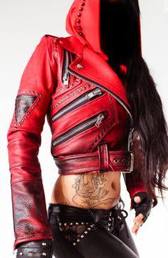 TOXIC VISION Signature red biker jacket