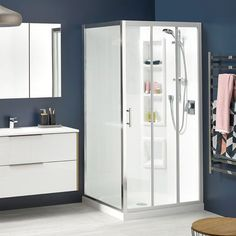 Cezanne Square Shower | Clearlite Bathrooms Safety Glass, Joinery, Glass Panels, Sliding Doors, Glass Door, Space Saving, Locker Storage, Bathrooms, Chrome