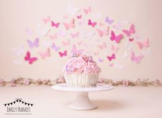Emily had a lovely time celebrating her first birthday with a giant cupcake at her cake smash. Twin Birthday Cakes, Butterfly Birthday Cakes, 1st Birthday Photoshoot, 1st Birthday Party For Girls, 1st Birthday Cake Smash, Butterfly Cakes, Pink Butterfly, Kids Birthday Photography, Baby Cake Smash