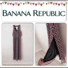 2016 SALE HP Long Dress Slits Shell: 100% polyester. Lining: 100% polyester. This dress is very beautiful, it has 2 slits on each side. Garter waist. V neck front, not to deep, just about perfect. Back has a V shape style for a pretty finish look. Banana Republic Dresses
