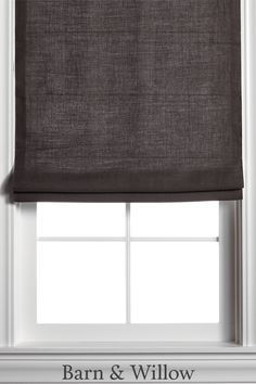 Dark Gray Roman Shade in a chic flat style. Made of premium Belgian Flax Linen, this custom window shade is hand-stitched by expert hands. Farmhouse Roman Shades, Linen Roman Shades, Custom Roman Shades, Grey Walls Living Room, Decor Home Living Room, Blinds Design, Window Design, Grey Kitchen Curtains, Dark Grey Kitchen