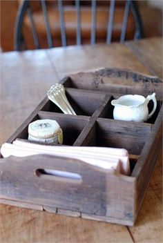 Antique-Style Wood Crate with Dividers from farmhouse wares Wooden Crate Boxes, Antique Wooden Boxes, Wood Crates, Wood Boxes, Rustic Kitchen, Country Kitchen, Weathered Wood, Inspired Homes, Farmhouse Decor