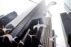 New York, US Bird-shaped kites make their way down Sixth Avenue during the People's Climate March. More than 120 world leaders will convene at the UN Climate Summit tomorrow Photograph: Jason DeCrow/AP
