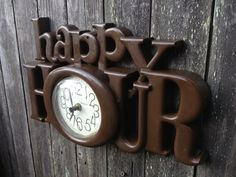 happy hour retro vintage wall clock home bar decor tavern decor wall decor - Bar Wall Decor