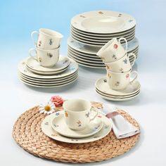 30 Piece Combination Tableware Set Plates Bowls Saucers Cups Kitchen Dinnerware