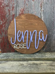 Nursery Wood Name Sign - Round Wood Name Sign - Wooden Name Sign by CashandBoone on Etsy Sweet Baby Names, Country Baby Names, Wood Name Sign, Wood Names, Personalized Wood Signs, Wooden Signs, Purple Names, Middle Names For Girls, Pretty Names