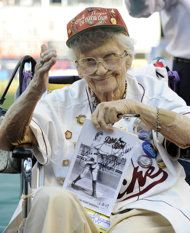 """May her memory be eternal - Lavonne """"Pepper"""" Paire-Davis, seen here in a file photo taken June 11, 2010, at Yankee Stadium in New York, watches the Houston Astros warm up before playing the New York Yankees. Davis, a star of the All American Girls Professional Baseball League in the 1940s and an inspiration for the movie """"A League of Their Own,"""" has died in Southern California. She was 88. (AP Photo/Bill Kostroun, File)"""