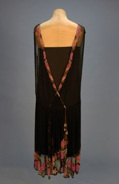 BEADED CHIFFON WRAP DRESS, 1920's. Sleeveless black silk with fanciful floral beadwork in pink, rose, aqua, blue and gold with gold metallic embroidery - Back detail.