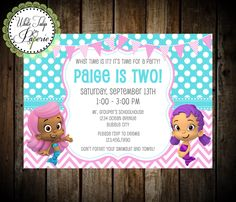Bubble Guppies Invitation, Bubble Guppies Party, Bubble Guppies Birthday Invitation, Printable, Girl, Digital Invite by WhiteTulipPaperie on Etsy https://www.etsy.com/listing/196131757/bubble-guppies-invitation-bubble-guppies
