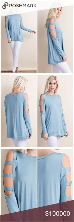 Arm cut out tunic in light sapphire  REORDER CUT OUT DETAIL ON COLD SLEEVE FEATURE. WITH BEND ON SIDE OF BOTTOM. VERY SOFT FABRICATION. Tops Tunics