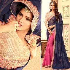 New Indian Designer Bollywood Pakistani Asian Wedding Party Pink Blue Saree Suit #Shoppingover #Saree