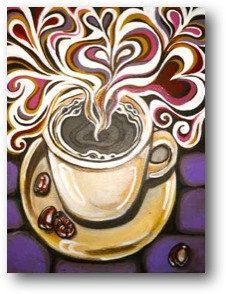 Java Luv Acrylic painting on canvas Museum mount, painted sides, no need for a frame Signed and dated by artist, Ingrid Hyde All Coffee Art, Coffee Cups, Party Decoration, Wow Art, Art Plastique, Painting Inspiration, Painting & Drawing, Illustrations, Art Projects