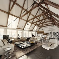 Living Room With Exposed Timber Joist Structure