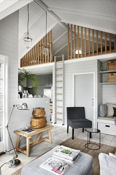 home decor for small spaces I like the rails on this loft Icelandic Curiosity Continues More Spaces!~my head space - home decorating, interior design amp; Tiny House Living, Small Living, Home Living Room, Living Spaces, Living Area, Tiny House Family, Kitchen Living, Family Room, Wooden Cabins