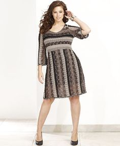 Style&co. Plus Size Three-Quarter-Sleeve Belted Sweater Dress ...
