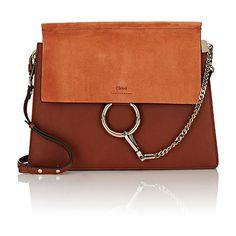 Chloé Faye Medium Shoulder Bag found on Polyvore featuring bags, handbags, shoulder bags, brown, chloe handbags, brown purse, shoulder strap bag, chloe purses and brown handbags