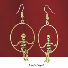 Trapeze Skeleton Earrings - New Age, Spiritual Gifts, Yoga, Wicca, Gothic, Reiki, Celtic, Crystal, Tarot at Pyramid Collection