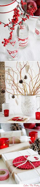 berries, pine cones, and lovely wrapping - red and white Christmas decor