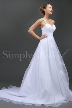 Wedding Dress by SimplyBridal. Stunning and ethereal, this white organza A-line gown will have you billowing down the aisle looking like a springtime goddess. The gown features spaghetti straps, a sweetheart neckline, and soft, gentle pleats on the bodice and waist. In the back, two or. USD $215.99