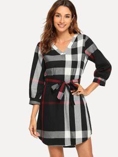 Shop Plaid Self Tie Waist Dress online. SHEIN offers Plaid Self Tie Waist Dress & more to fit your fashionable needs. Dresses For Work, Dresses With Sleeves, Sleeve Dresses, Sheath Dresses, Prom Dresses, Natural Clothing, Plaid Dress, Latest Dress, Fashion News
