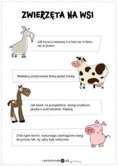 Zwierzęta na wsi - gimnastyka buzi i języka - Printoteka.pl Kids Learning, Montessori, Crafts For Kids, Kindergarten, Preschool, Teacher, Education, Logos, Children