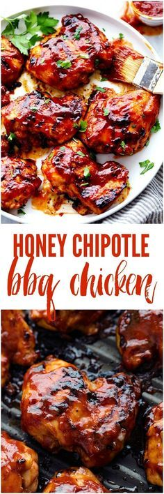 Honey Chipotle BBQ Chicken Honey Chipotle BBQ Chicken is sweet and tangy and the chipotle adds such a flavorful kick! You are going to love everything about this sauce and it will be a hit at your next gathering! Grilling Recipes, Cooking Recipes, Healthy Recipes, Smoker Recipes, Cooking Time, Crockpot Recipes, Bbq Chicken, Chicken Recipes, Chipotle Chicken