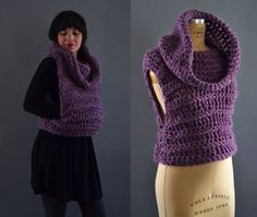 Cowl Knit Vest Crochet Vest with Hood and by ArtandFoundApparel
