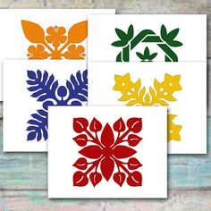 Hawaiian Quilt Design Note Cards by Sferra Designs  Bold and beautiful Hawaiian quilt design note cards feature five designs, two of each, breadfruit, plumeria, maile, hibiscus, and anthurium. The designs are printed in bright burgundy, persimmon, gold, forest green, and deep blue hues to give them a tropical and vibrant look, just like real Hawaiian quilts. You will receive a set of ten note cards, left blank for your personal message. The cards are printed on heavy card stock, cut, scored…
