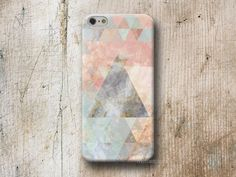Marble texture and pastel triangles in mint and pink. Phone Case available for iPhone Samsung Galaxy LG Sony HTC Huawei Moto  WOOD and MARBLE cases are made from 100% recycled PLASTIC and do no...