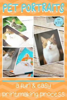 Create your own pet portrait with this easy printmaking process that uses washable markers! Portraits For Kids, Pet Portraits, Middle School Art, Art School, High School, Art Education Projects, School Art Projects, Found Art, Art Activities